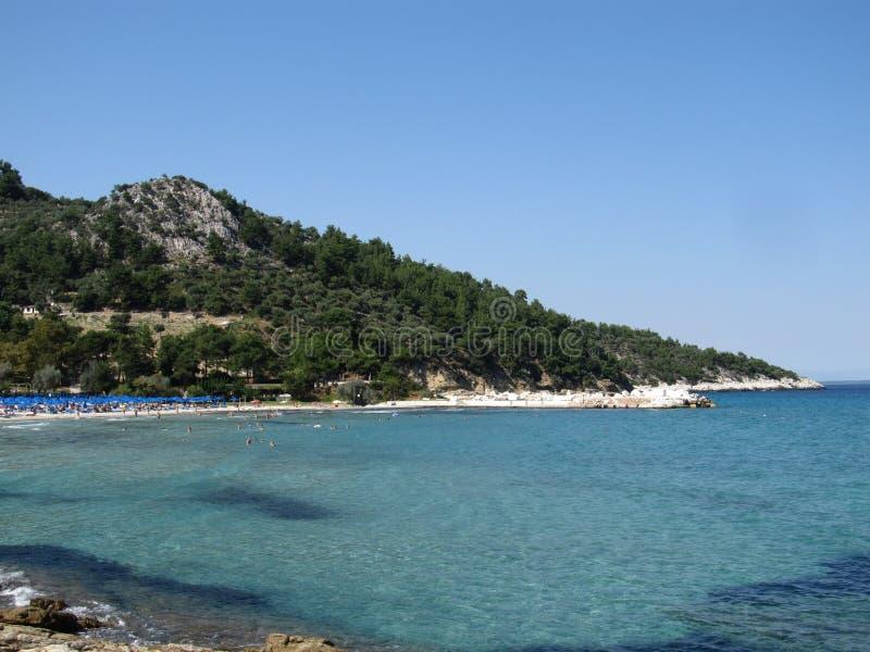 Ön av Thassos, Grekland Den mest härliga stranden i Grekland med en blå flagga royaltyfri fotografi