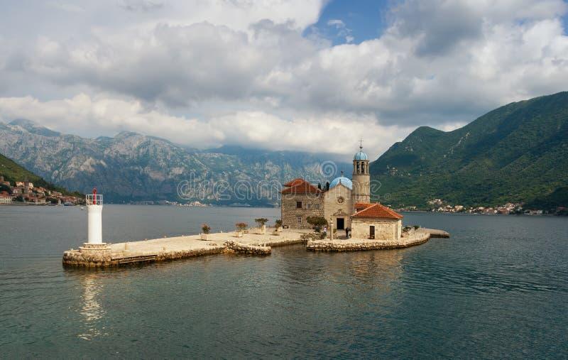 Ön av vår dam av vaggar Montenegro arkivbilder