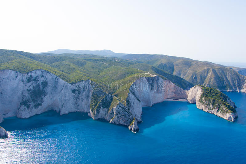 Ön av Zakynthos Grekland från lufta royaltyfria foton