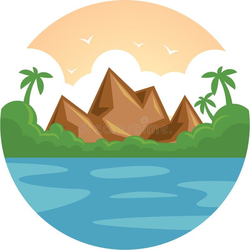 Ön för havet för ferie för sommarsemestern vaggar den tropiska med palmträdet och den plana vektorillustrationen stock illustrationer