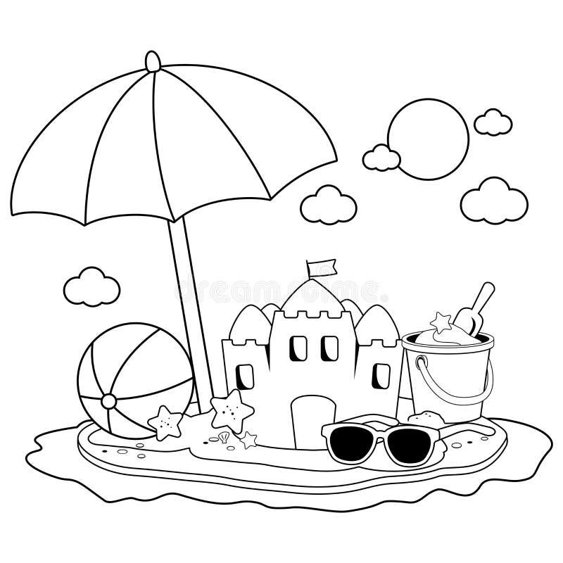 Ön för sommarsemestern med strandparaplyet, en sandslott och annan sätter på land leksaker Svartvit sida för färgläggningbok royaltyfri illustrationer