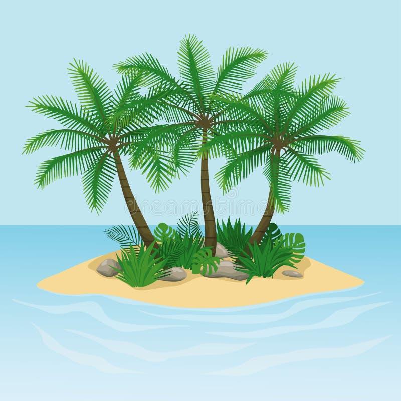 Ön med palmträd, vaggar och stenar stock illustrationer