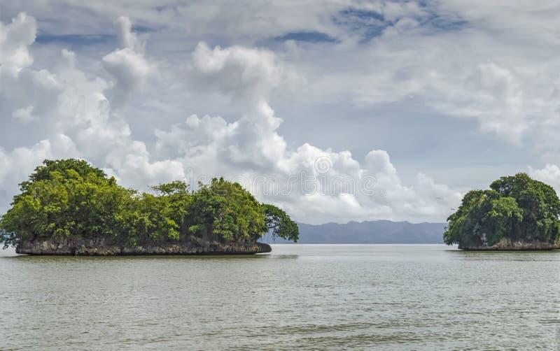 Ön vaggar i Atlanticet Ocean som täckas med grön vegetation, mot en bakgrund av kusten i bakgrunden royaltyfria foton