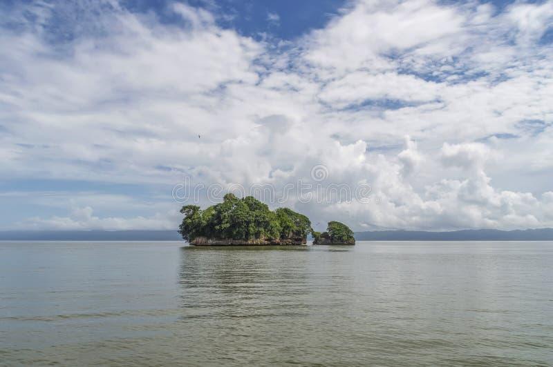 Ön vaggar i Atlanticet Ocean som täckas med grön vegetation, mot en bakgrund av kusten i bakgrunden arkivbild