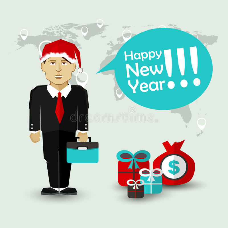 Önska för lyckligt nytt år av affärsmannen stock illustrationer