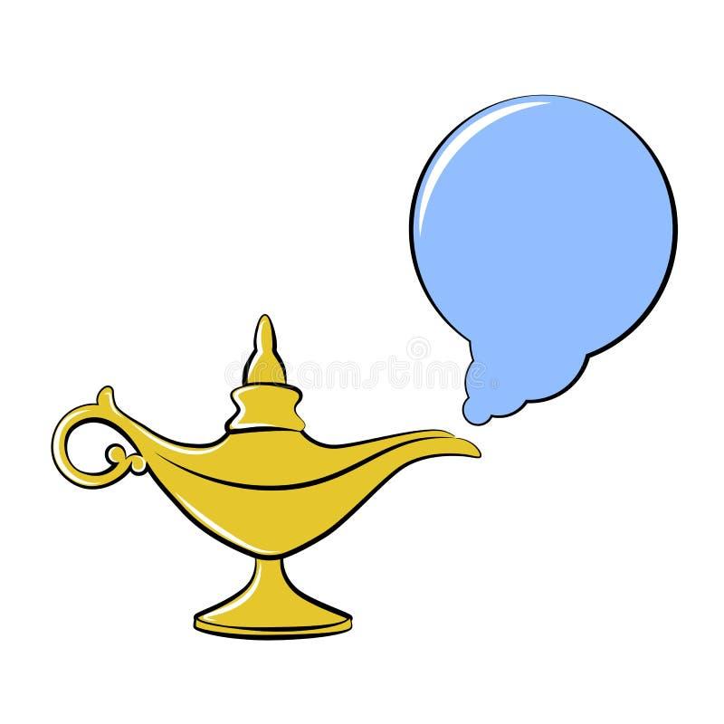 Önska för saga tre för guld- magisk lampa arabisk royaltyfri illustrationer