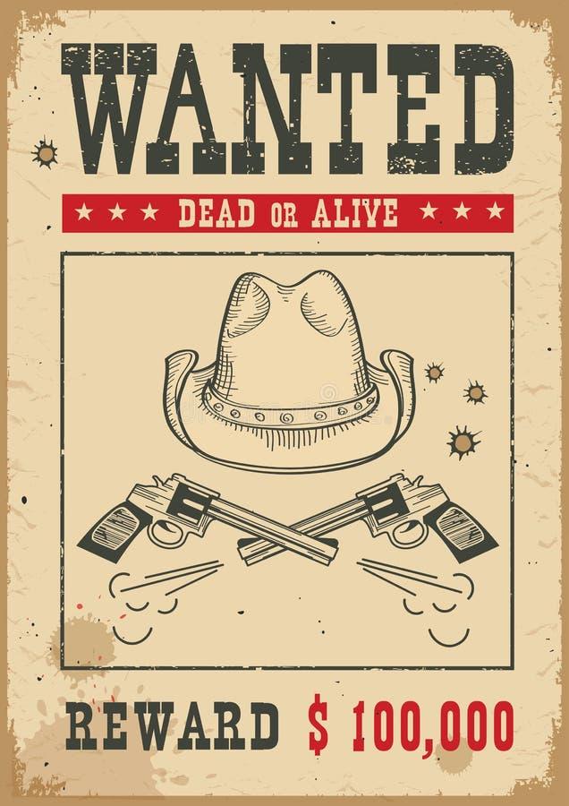 önskad affisch Västra illustration för vektor med vapen och cowboyhatten vektor illustrationer