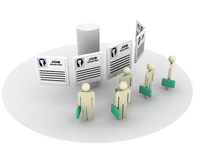 önskad jobbplats stock illustrationer