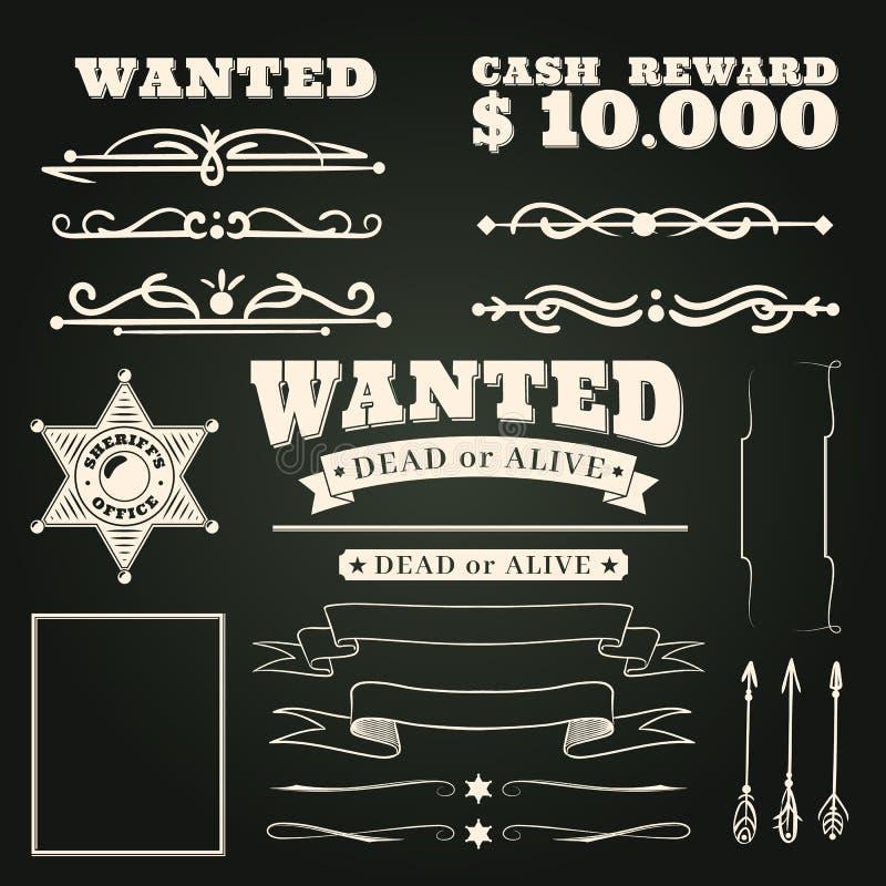 Önskade prydnader Tatueringar modell för salong för landstappning västra och beståndsdelar för cowboyramsnirkel på mörk bakgrund royaltyfri illustrationer