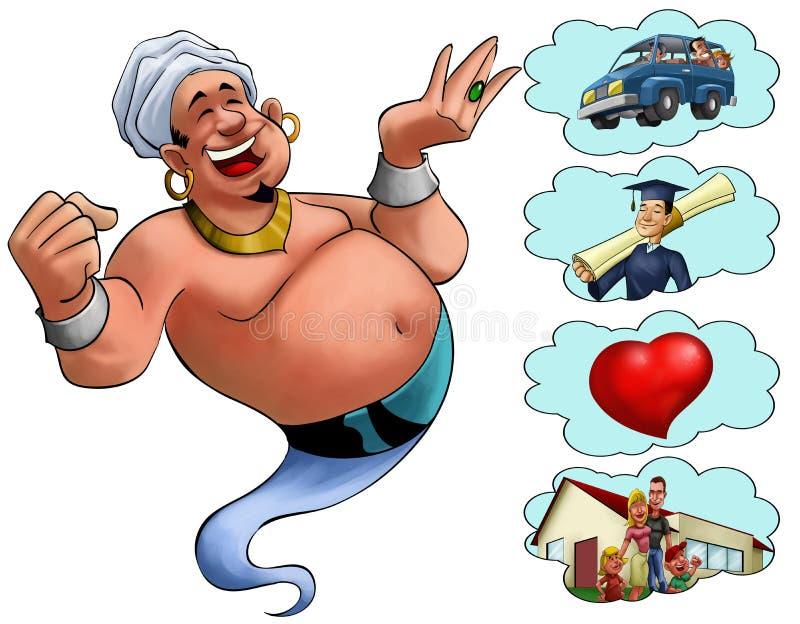 önskar ande i arabiska sagor stock illustrationer