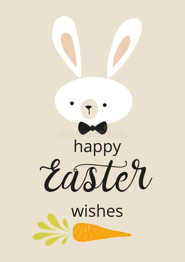 Önskar den lyckliga påsken för påsktypograficitationstecken den dekorerade roliga kaninkaninen i pastellfärgade färger royaltyfri illustrationer
