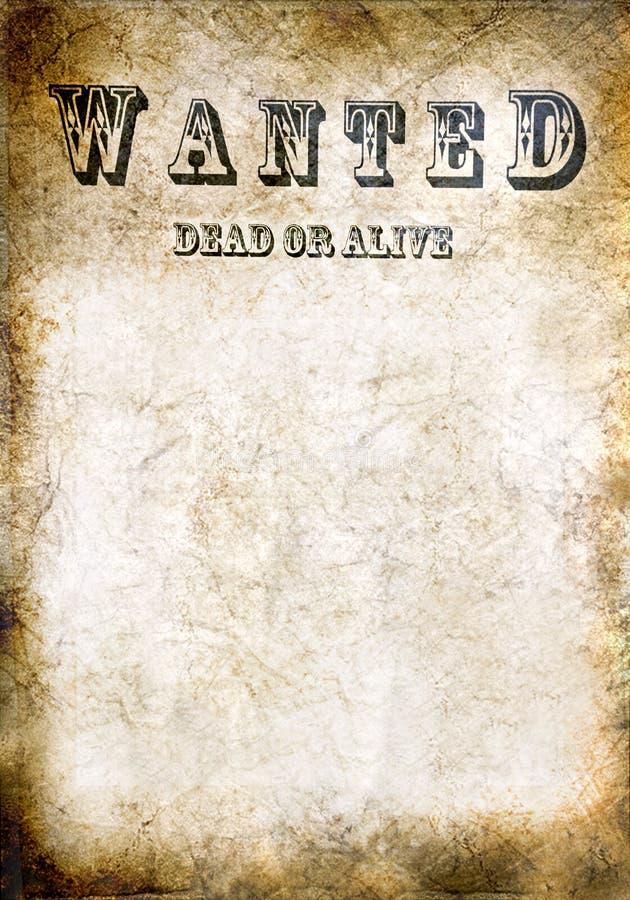 Önskat affisch, döda eller vid liv för tappning arkivbilder