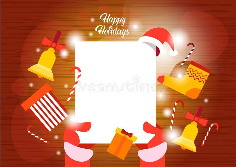 Önskelista för lyckligt nytt år Santa Claus Hands Empry Paper Sheet för glad jul royaltyfri illustrationer