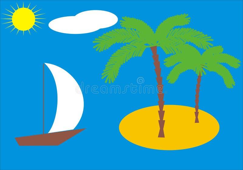 öpalmträd vektor illustrationer
