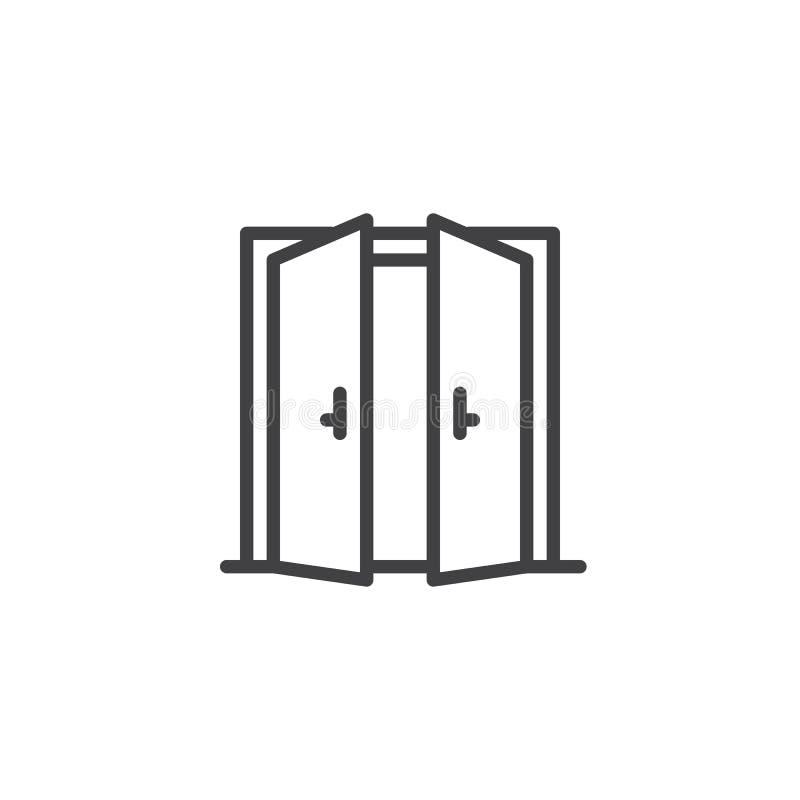 Öppen översiktssymbol för dubbel dörr royaltyfri illustrationer