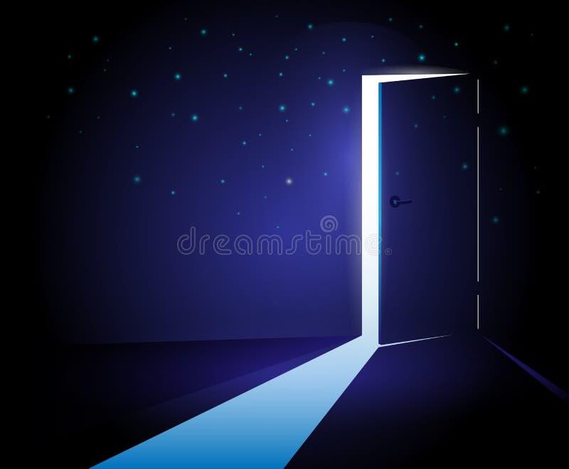 öppen abstrakt dörr stock illustrationer