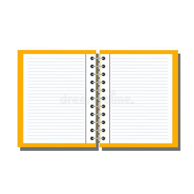 Öppen anteckningsbok som isoleras på bakgrund vektor illustrationer