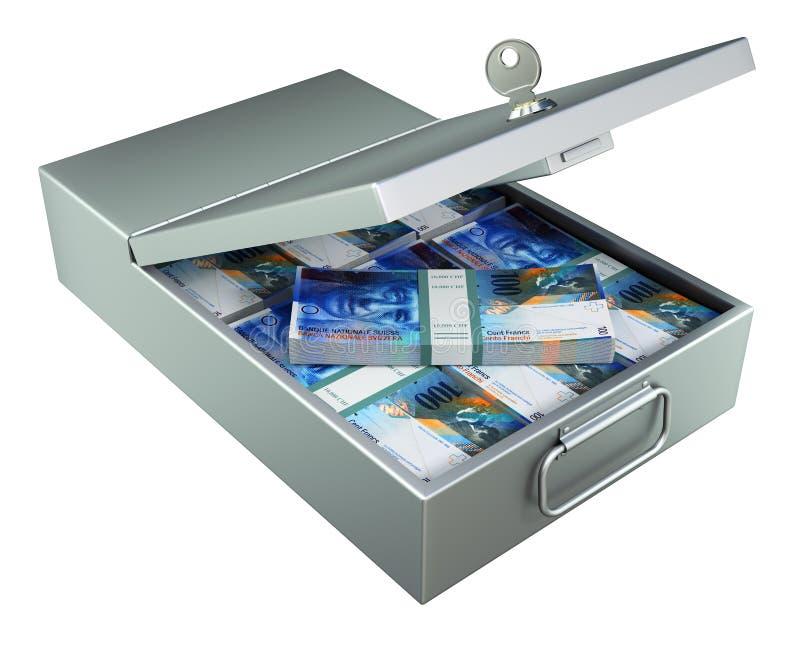 Öppen ask för insättning för metallbanksäkerhet med schweizisk franc vektor illustrationer
