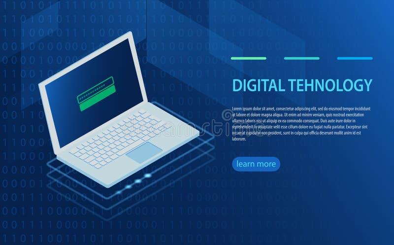 Öppen bärbar dator med bemyndigandeformen på skärmen, personligt dataskydd stock illustrationer