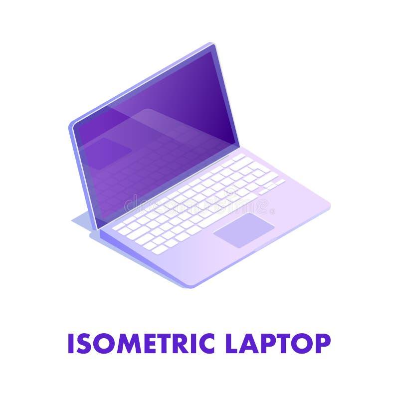 Öppen bärbar dator med den isometriska illustrationen för tangentbord stock illustrationer