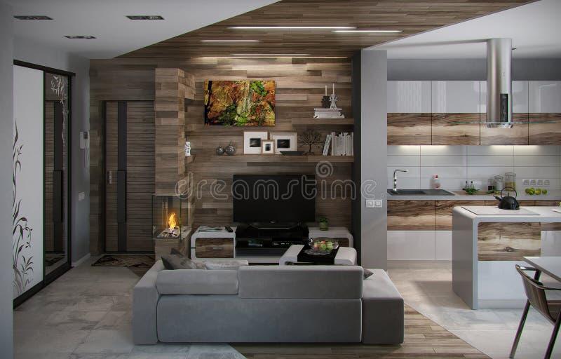 Öppen begreppskök och vardagsrum, 3D framför royaltyfri foto