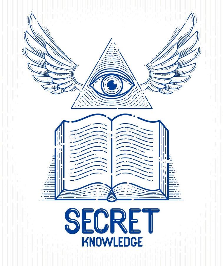 Öppen bevingad bok för hemlig kunskapstappning med allt seende öga av guden i sakral geometritriangel, murverk eller illuminatisy stock illustrationer