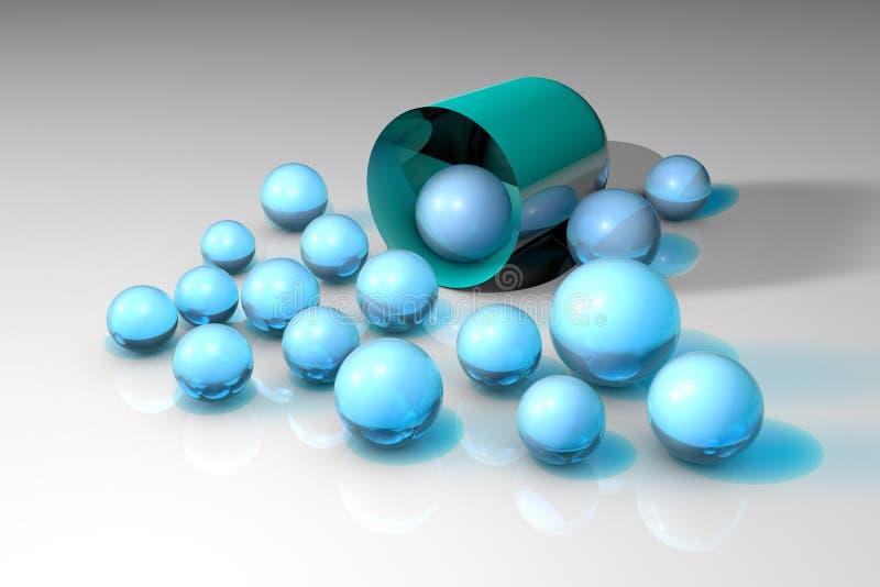 Öppen blå kapsel med blåa medicinska partiklar Apotekapotek Antibiotisk kapsel Probiotic kapsel Vitamin och royaltyfri illustrationer