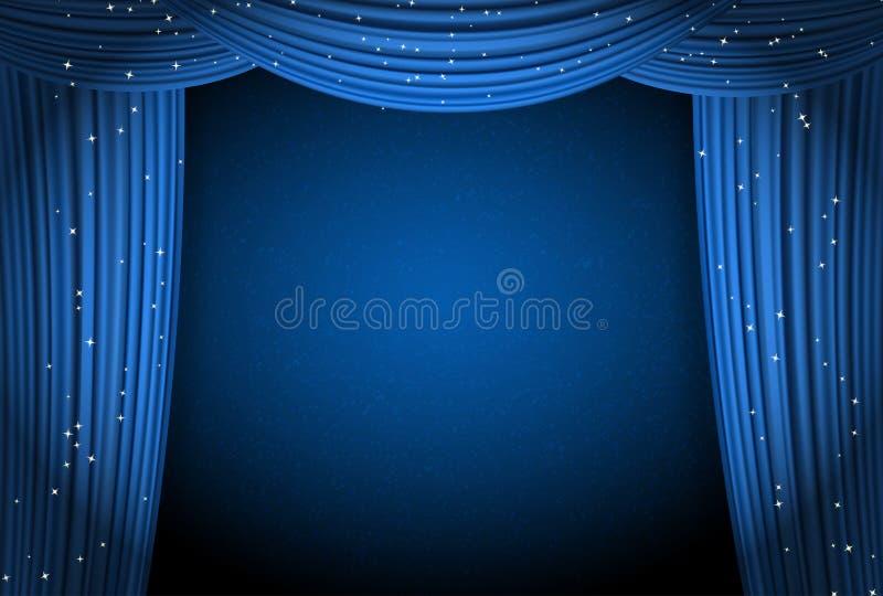 Öppen blått hänger upp gardiner bakgrund med att blänka stjärnor vektor illustrationer