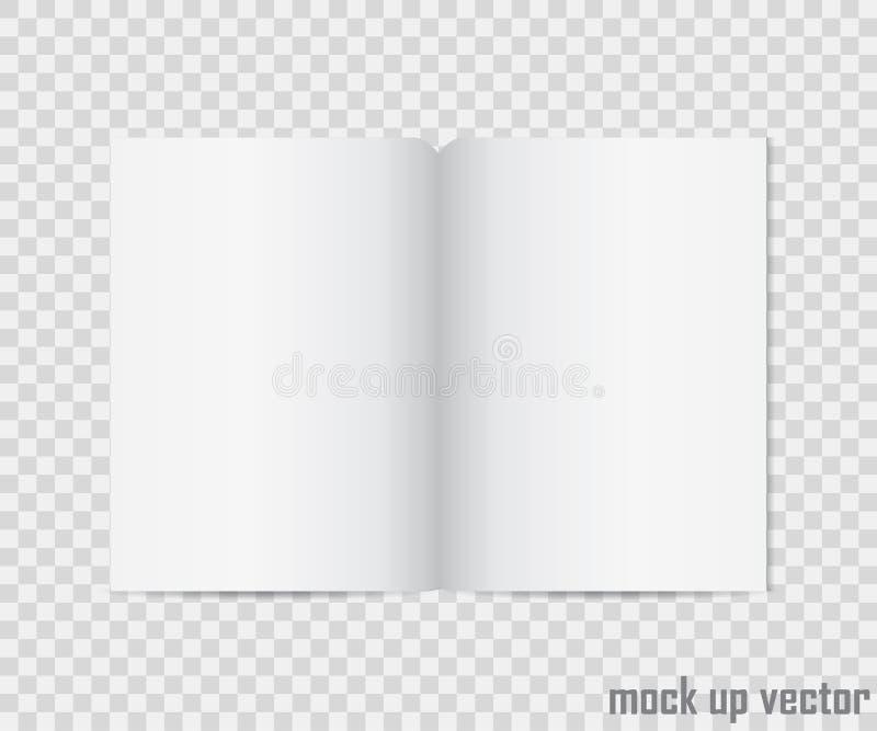 Öppen bokåtlöje upp på genomskinlig bakgrund Realistisk tom vertikal häfte, katalogmall, tidskrift, broschyr eller inte royaltyfri illustrationer