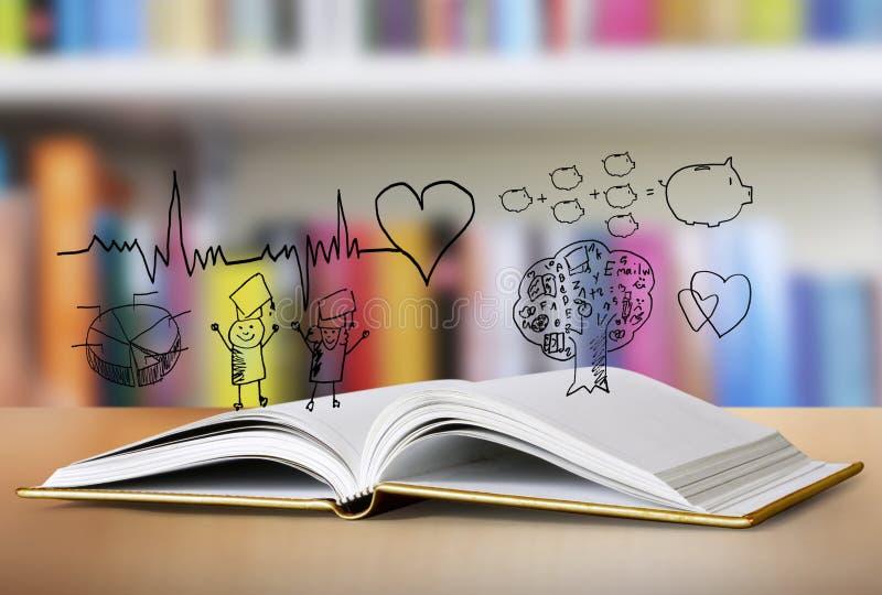 öppen bok royaltyfri illustrationer