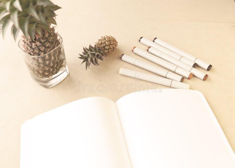 Öppen bok för att skissa En grupp av konstmarkörer och en miniatyrananas På tabellen fotografering för bildbyråer