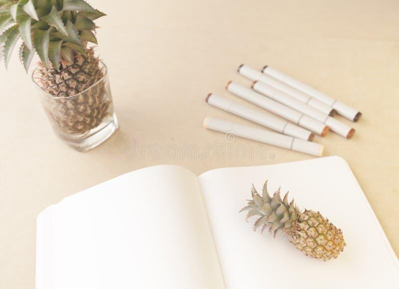 Öppen bok för att skissa En grupp av konstmarkörer och en miniatyrananas På tabellen royaltyfri bild