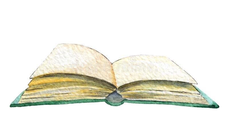 Öppen bok för vattenfärg royaltyfri illustrationer
