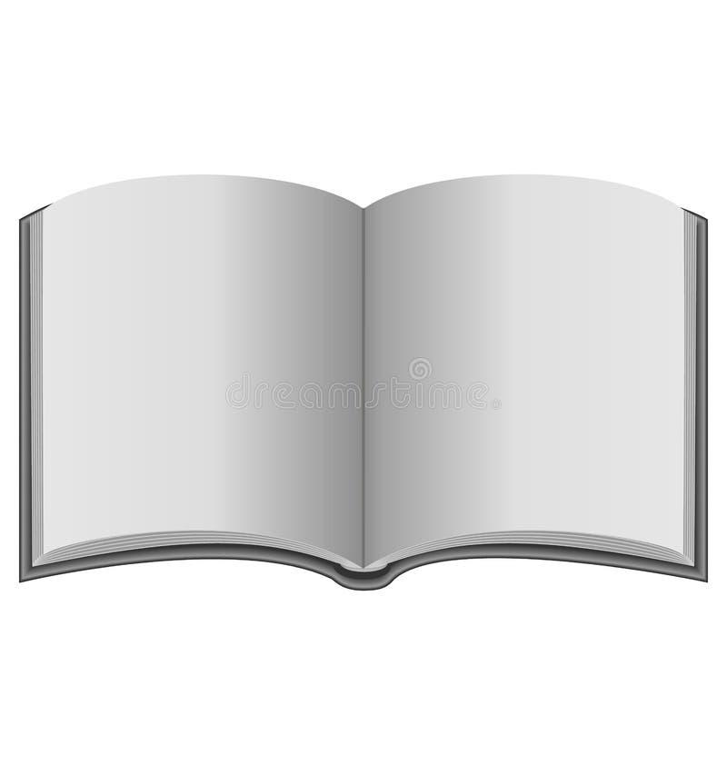 Öppen bok i gråtonfärger stock illustrationer