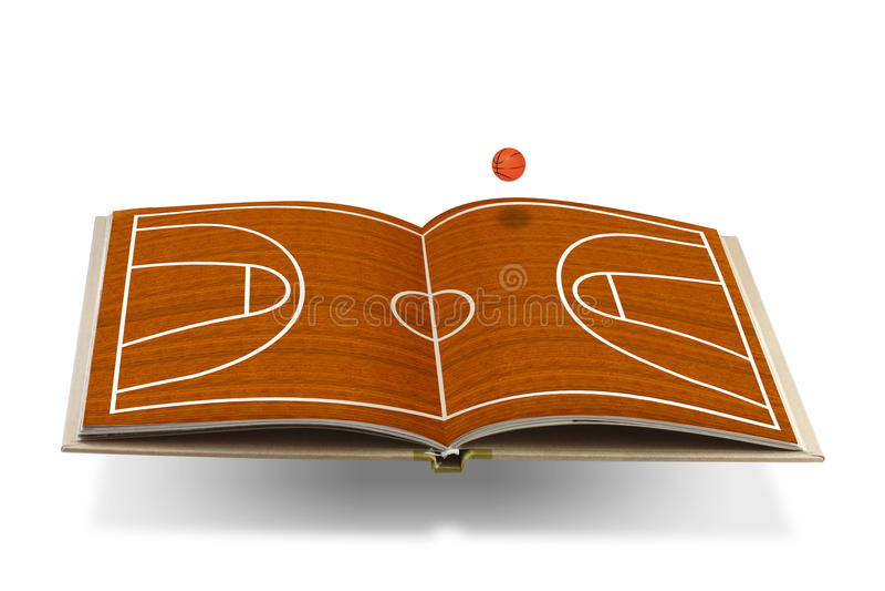 Öppen bok med basketdomstolen royaltyfri illustrationer