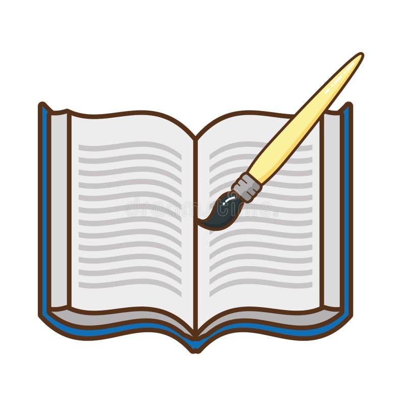 Öppen bok med den borste isolerade symbolen royaltyfri illustrationer