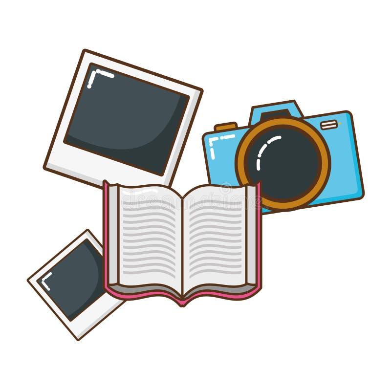 Öppen bok med den kamera isolerade symbolen vektor illustrationer