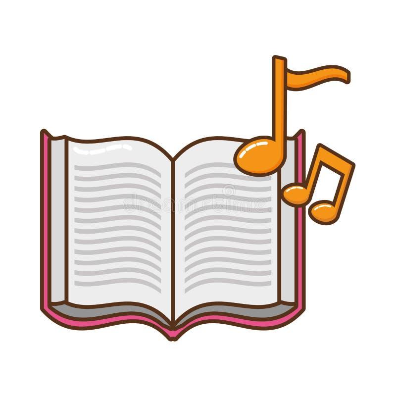 Öppen bok med symbolen för musikaliska anmärkningar vektor illustrationer