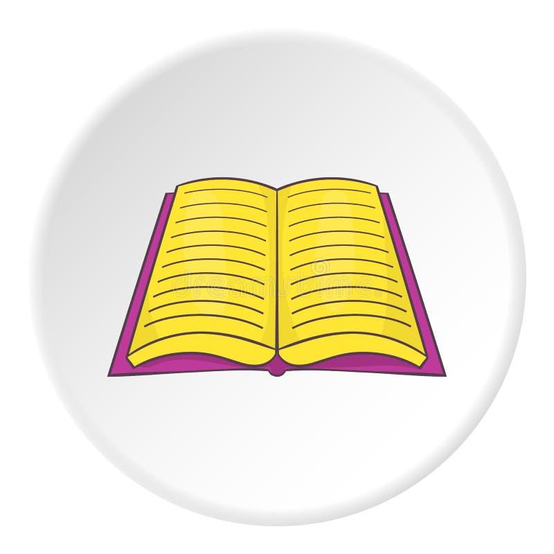 Öppen bok med textsymbolen, tecknad filmstil vektor illustrationer