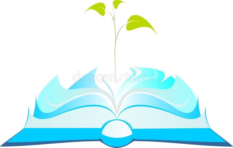 Öppen bok med trädgrodden vektor illustrationer