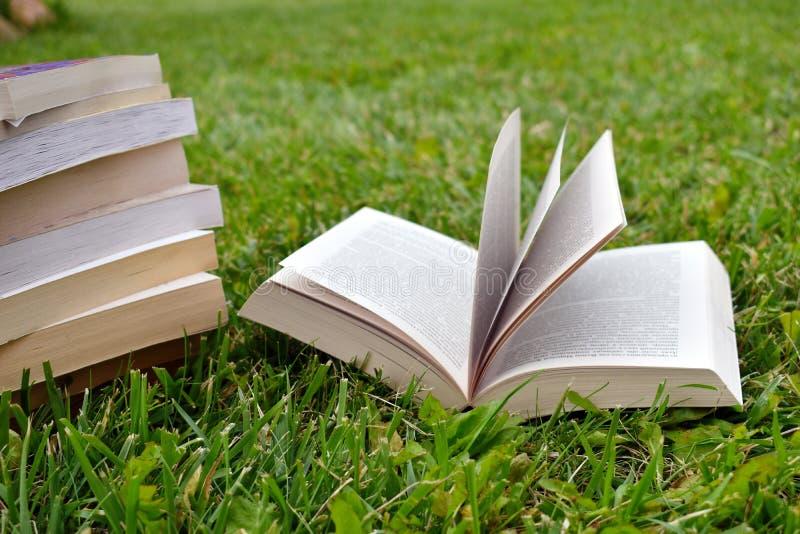 Öppen bok på grönt gräs i sommaren arkivbilder