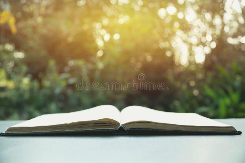 öppen bok Bok som är öppen på den gamla trätabellen på naturbakgrund royaltyfria foton