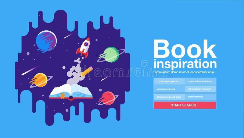 Öppen bok; utrymmebakgrund; skola; läsa och lära; Fantasi och inspirationbild Fantasi och idérikt; Vektorlägenhet vektor illustrationer