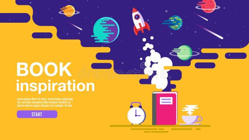 Öppen bok, utrymmebakgrund, skola, läsning och lära, fantasi och inspirationbild Fantasi och idérikt, vektorlägenhet royaltyfri illustrationer