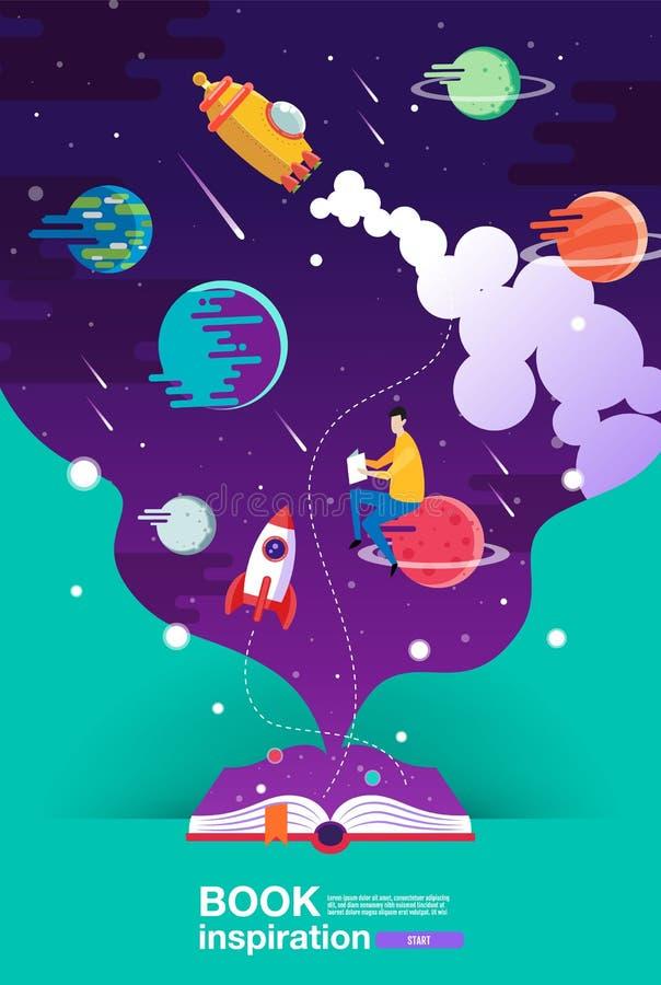 Öppen bok, utrymmebakgrund, skola, läsning och lära, fantasi och inspirationbild Fantasi och idérikt, vektorlägenhet stock illustrationer