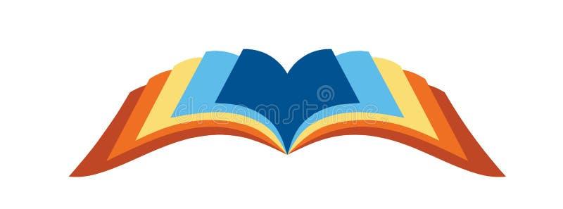 öppen boklogo stock illustrationer