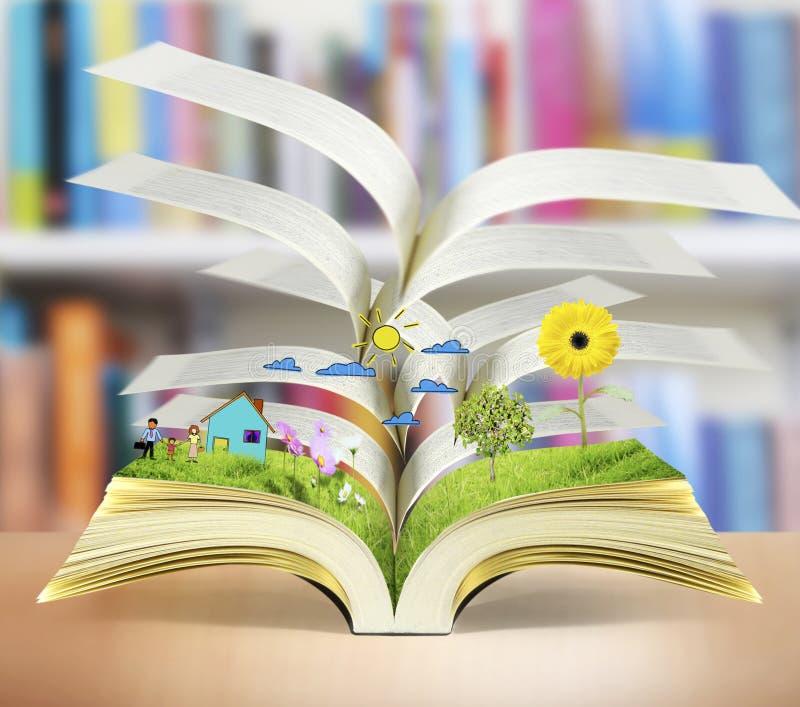 öppen bokmagi royaltyfri illustrationer