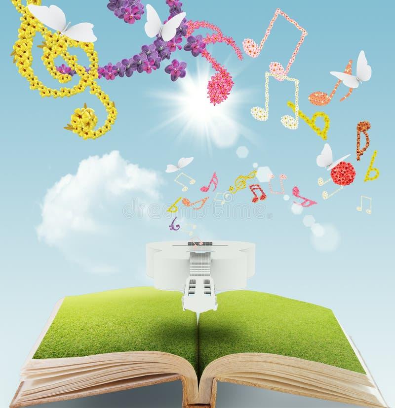 öppen bokmusik stock illustrationer