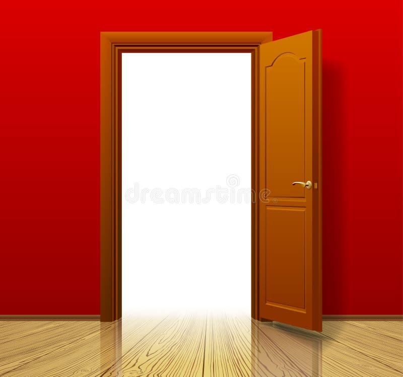 Öppen brun dörr med den röda väggen och det glansiga wood golvet royaltyfri illustrationer