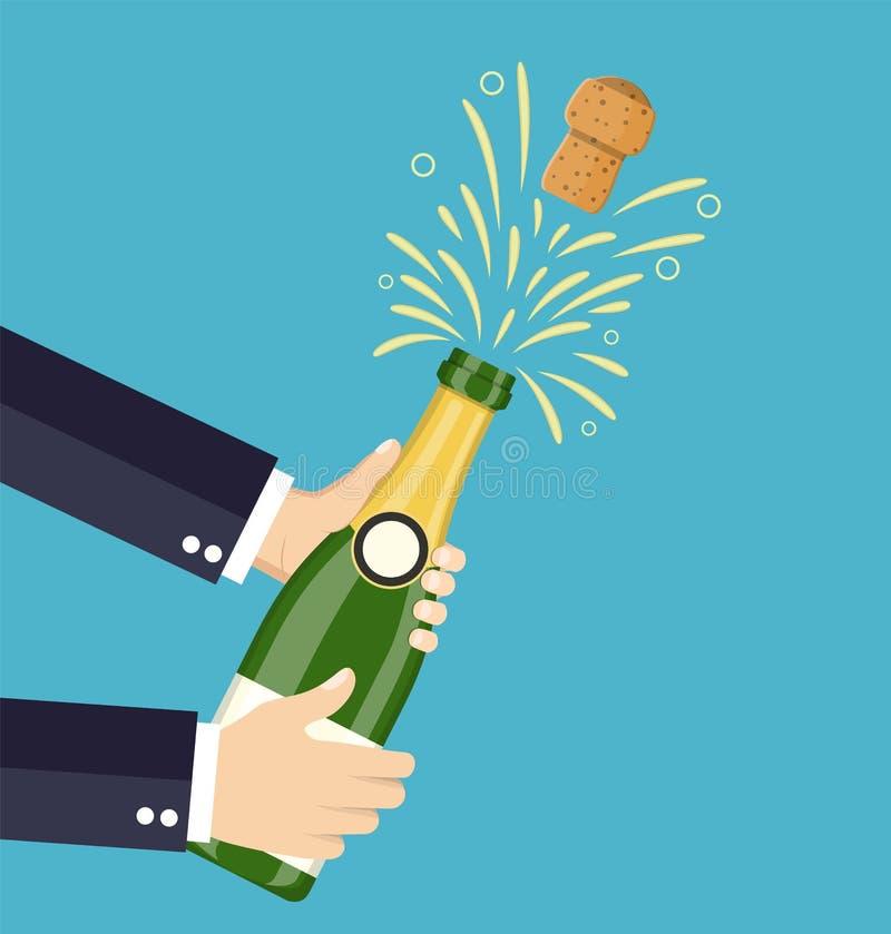Öppen champagne för hand, Champagnefärgstänk vektor illustrationer